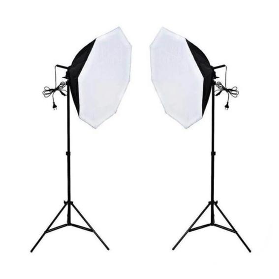 Kit de Luz Continua para Estúdio Fotográfico Newborn 3 com Softbox Octagonal e Tripé