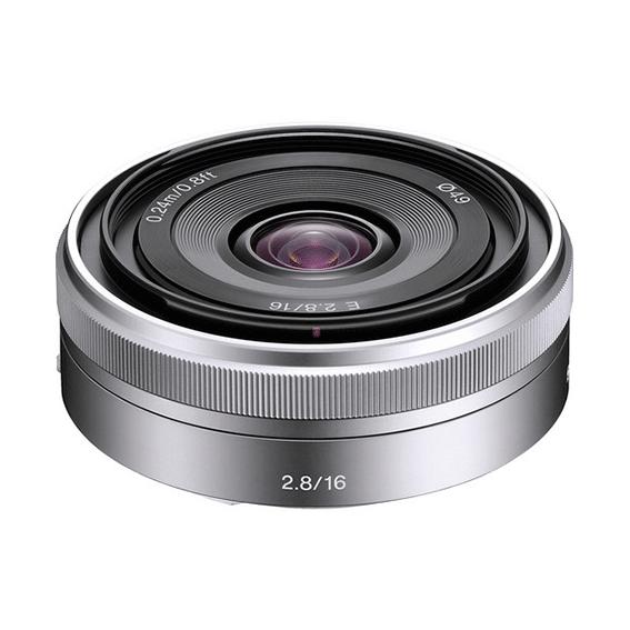 Lente Sony E 16mm f/2.8 E-Mount Prata | SEL16F28