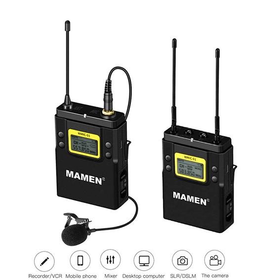 Microfone Lapela Wireless Mamen WMIC-01 Duplo Canal UHF com Transmissor e Receptor P2