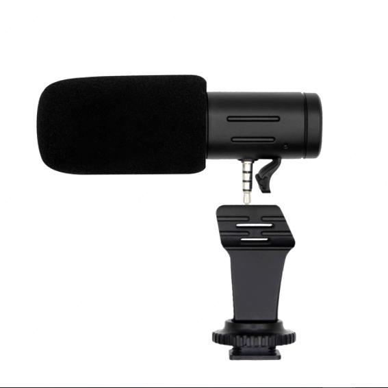 Microfone Shotgun Estéreo Mamen MIC-06 para Câmeras e SmartPhones