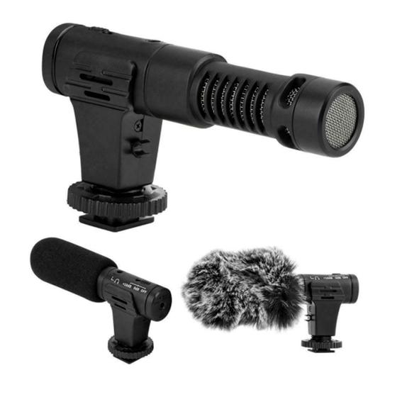 Microfone Shotgun Estéreo Mamen MIC-07 Pro para Câmeras e Smartphones