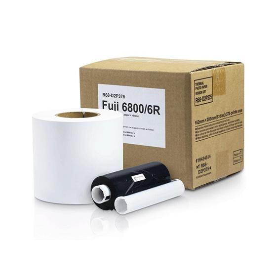Papel e Ribbon para Impressora Kodak 605 e 6800 - R68-D2P375