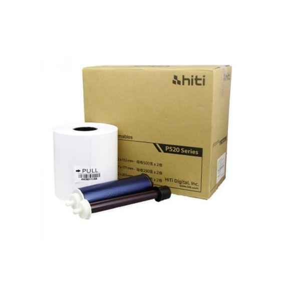 Ribbon e Papel Hiti P520L P525L   250 Impressões 15x20 (6x8)
