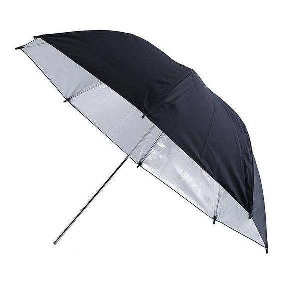 Sombrinha Refletora Rebatedora Preta/Prata 91cm
