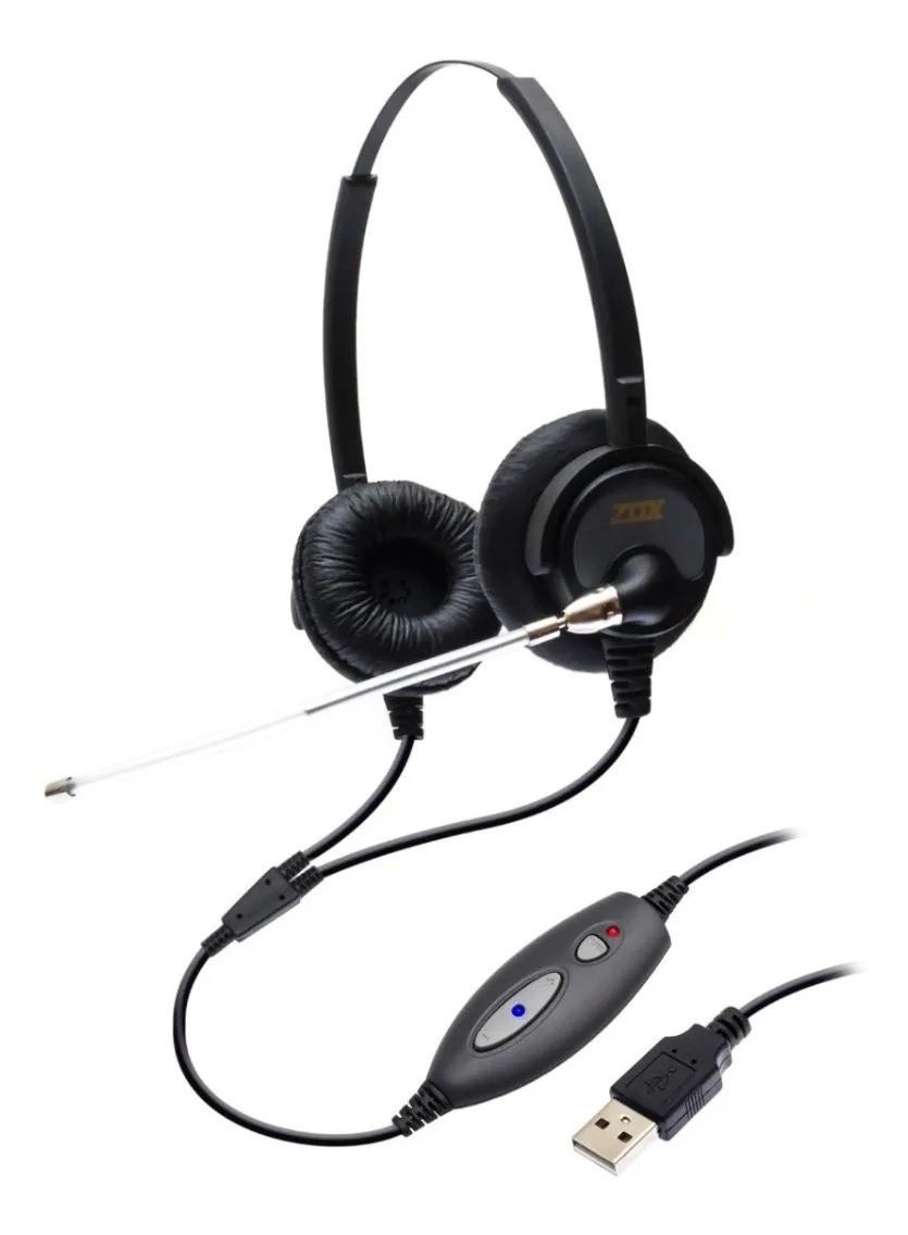 Headset USB Biauricular C/ Tubo de Voz DH-60TD - Zox