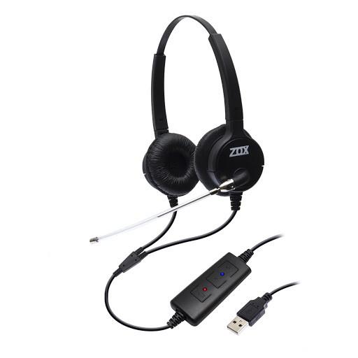 Headset USB Biauricular C/ Tubo de Voz DH-80TD - Zox
