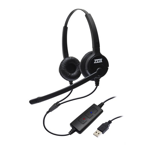 Headset USB Voip Biauricular C/ Tubo De Voz DH-80D - Zox