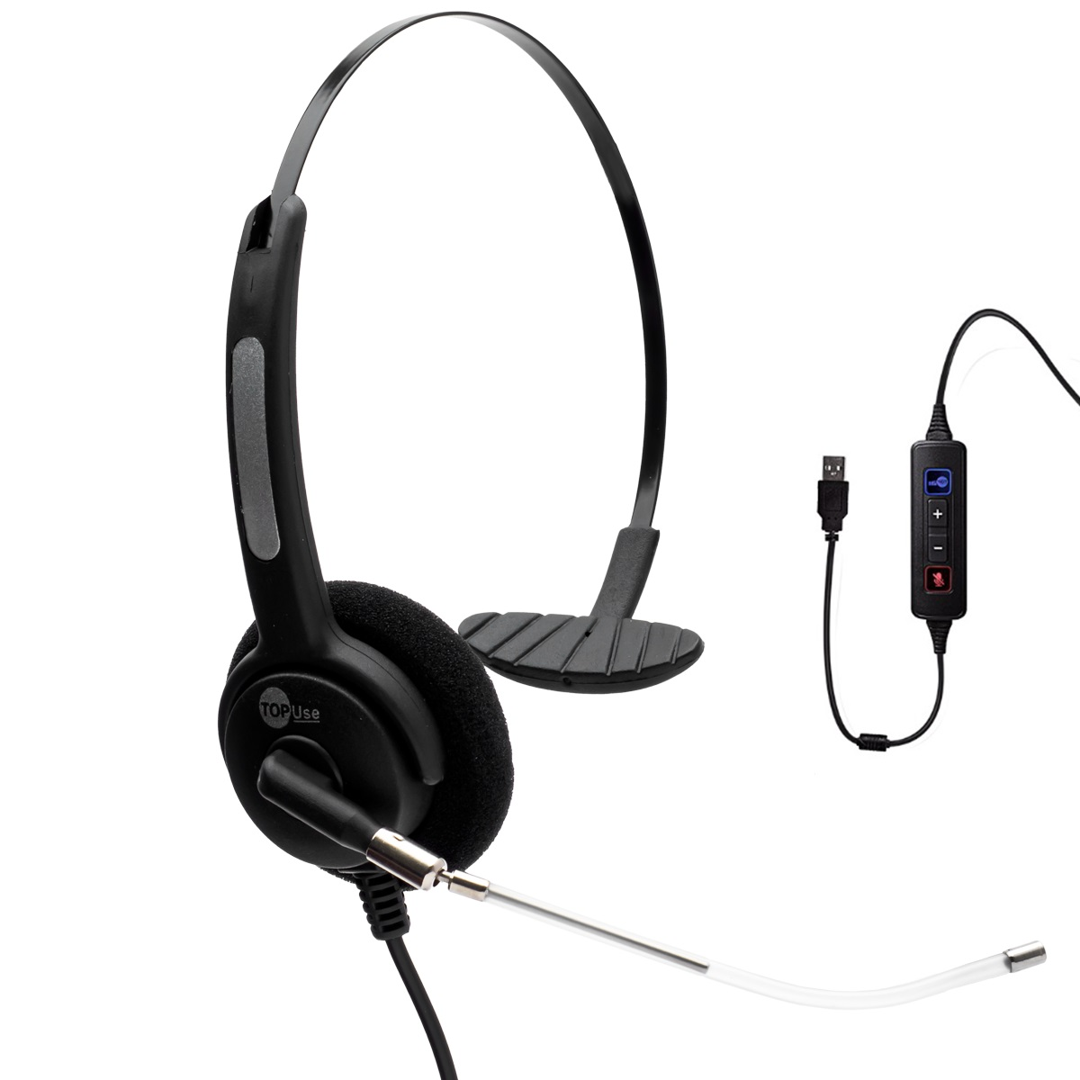 Headset USB Voip c/ Tubo de Voz Removível HTU-310 - TopUse