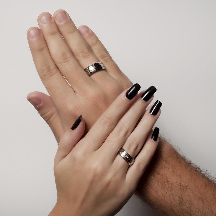 Aliança Masculina de Namoro com Duplo Filete de Ou
