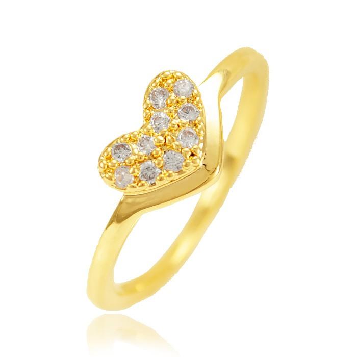 Anel Falange Folheado Ouro 18K Coração com Micro Zircônia Cristal