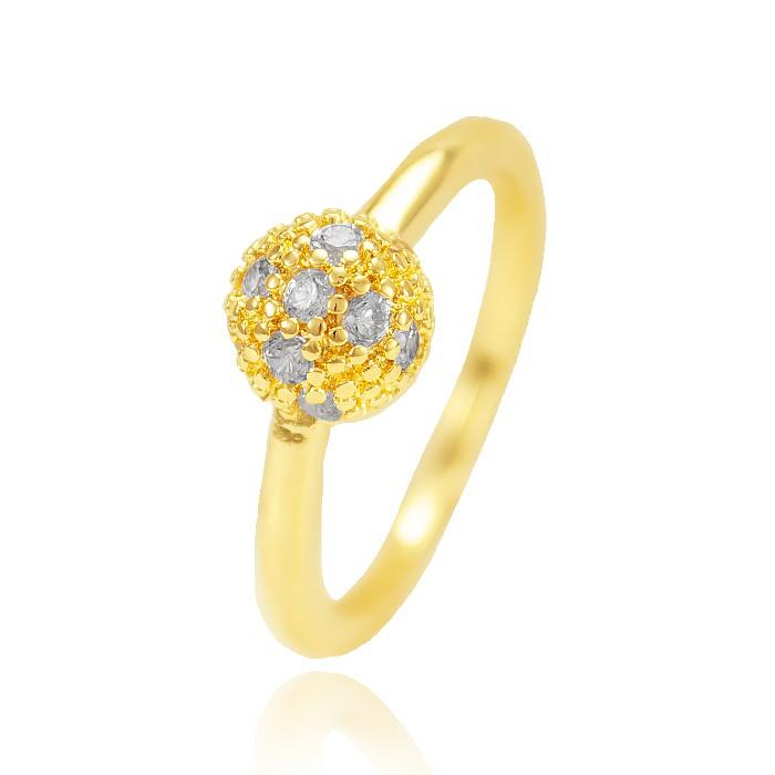 Anel Falange Folheado Ouro 18K Esfera com Micro Zircônia Cristal