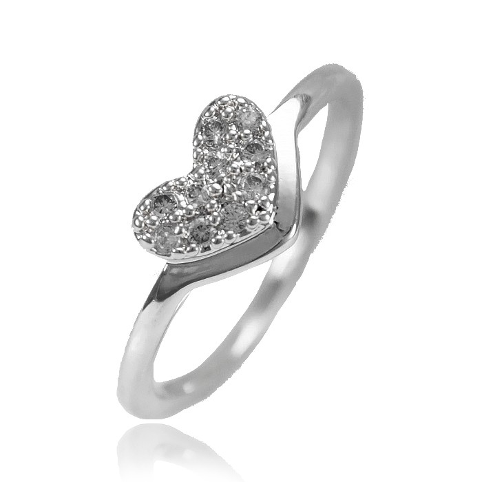 Anel Falange Folheado Ródio Negro Coração com Micro Zircônia Cristal