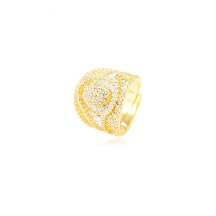 Anel Folheado Ouro 18K com Micro Zircônia Cristal