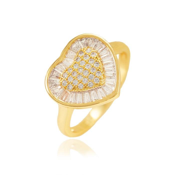 Anel Folheado Ouro 18K Coração com Micro Zircônia Cristal no Centro e Baguetes em Volta