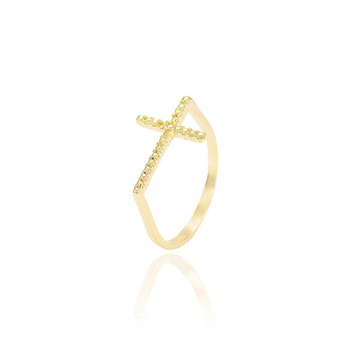 Anel Folheado Ouro 18K Cruz com Micro Zircônia Cristal
