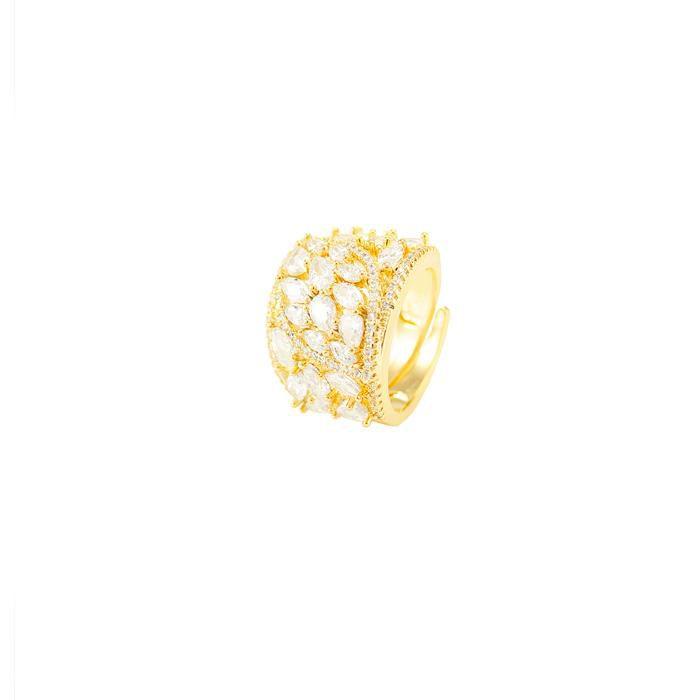 Anel Folheado Ouro 18K Detalhado com Micro Zircôni