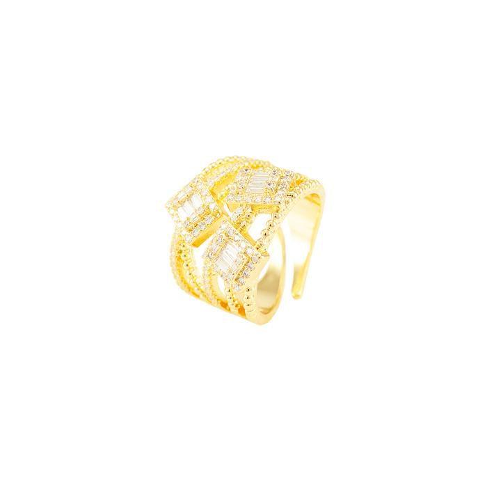 Anel Folheado Ouro 18K Detalhado com Quadrados de