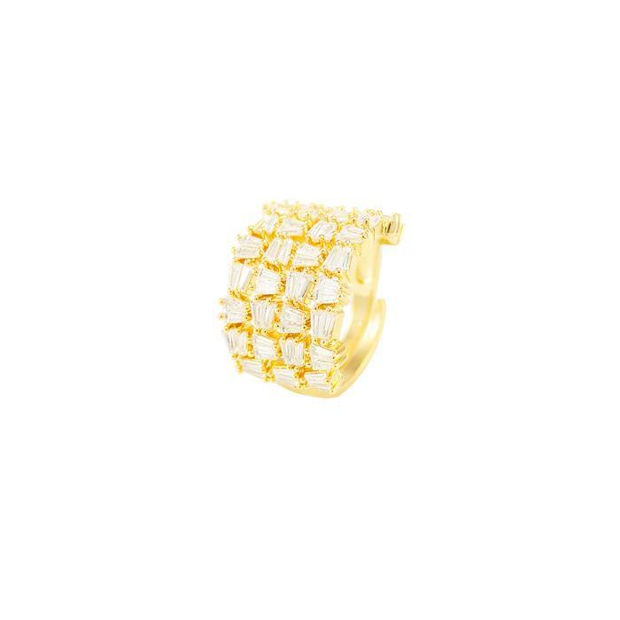 Anel Folheado Ouro 18K Detalhado com Zircônia Bagu