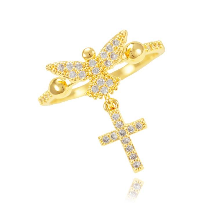 Anel Folheado Ouro 18K Espirito Santo com Cruz Pendurada Micro Zircônia Cristal