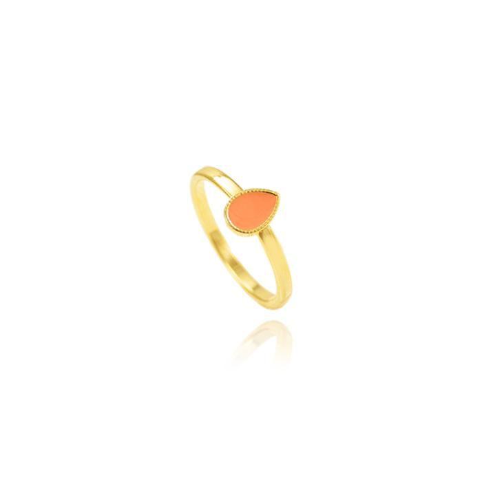 Anel Folheado Ouro 18K Gotinha com Resina Coral
