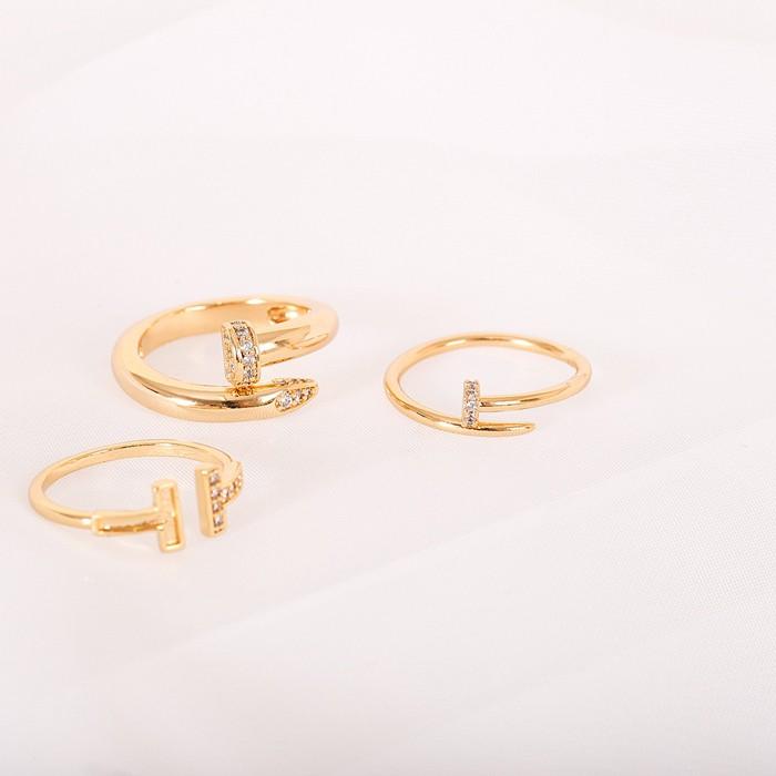 Anel Folheado Ouro 18K Inspired Tiffany com Micro Zircônia Cristal