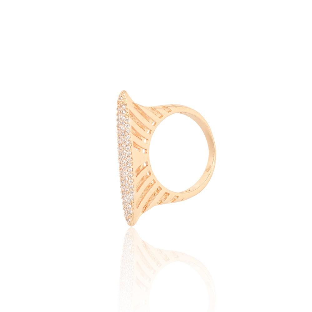 Anel Folheado Ouro 18K Micro Zircônia com Caixa Detalhada