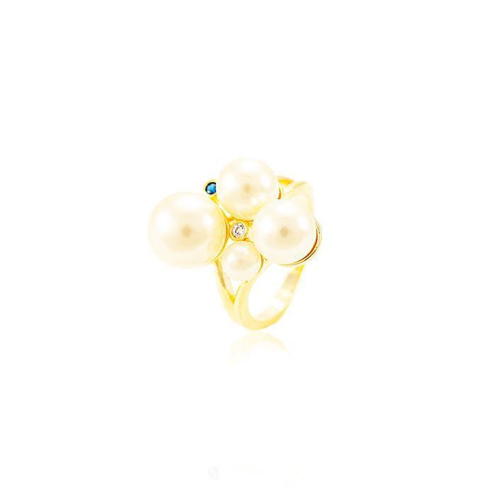 Anel Folheado Ouro 18K Pérolas com Zircônia Colori