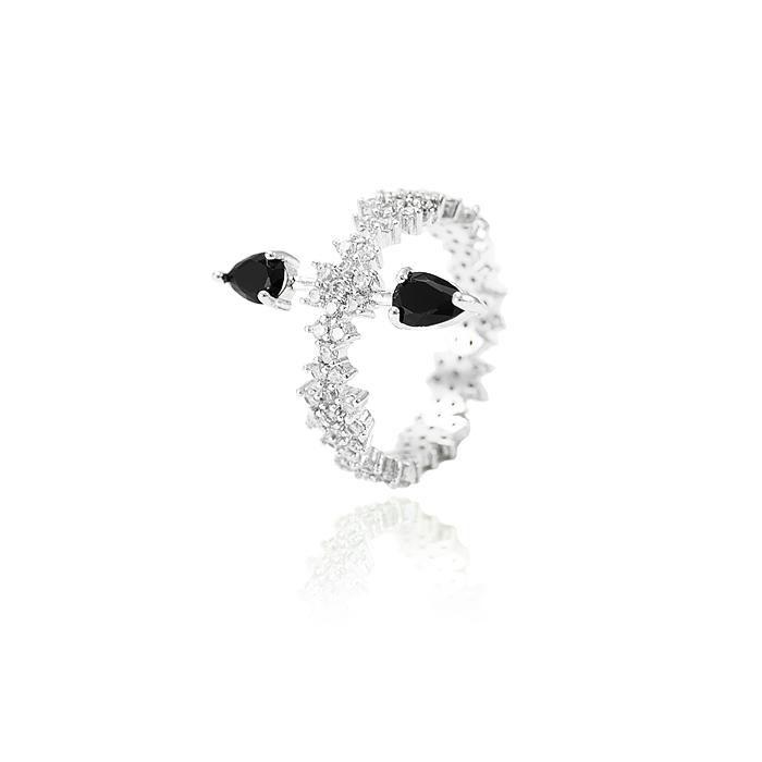 Anel Folheado Ródio com Gotas Cristal Negro e Micr