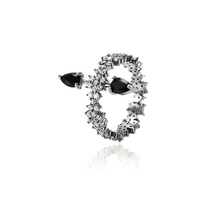 Anel Folheado Ródio Negro com Gotas Cristal Negro