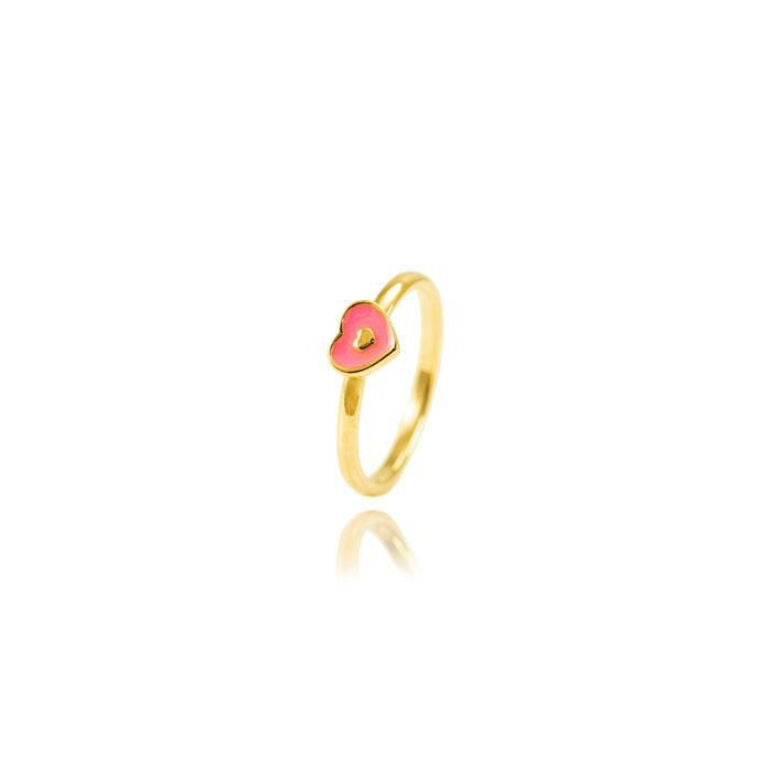 Anel Infantil Folheado Ouro 18K Coração com Resina