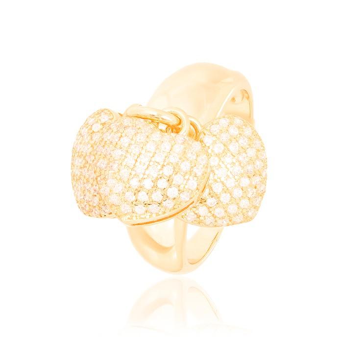 Anel Liso Folheado Ouro 18K Três Corações com Micro Zircônia Cristal Pendurados