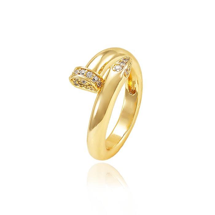 Anel Prego Grosso Folheado Ouro 18K com Micro Zircônia Cristal Inspired Cartier
