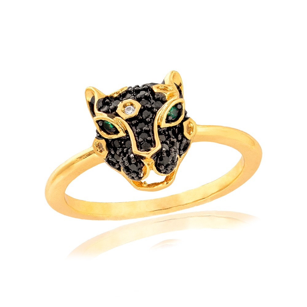 Anel Tigre Folheado Ouro 18K de Micro Zircônia Negra  com Aplicação de Ródio Negro