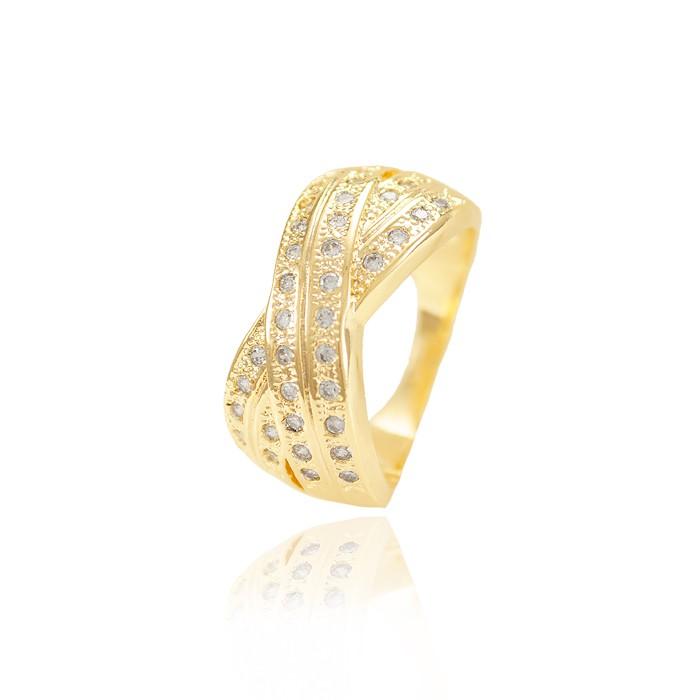 Anel X Folheado Ouro 18K com Fileira Dupla de Micro Zircônia Cristal
