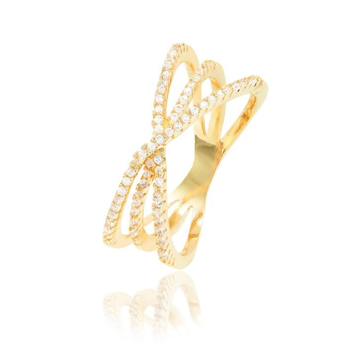 Anel X Folheado Ouro 18K com Risco no Meio Micro Zircônia Cristal