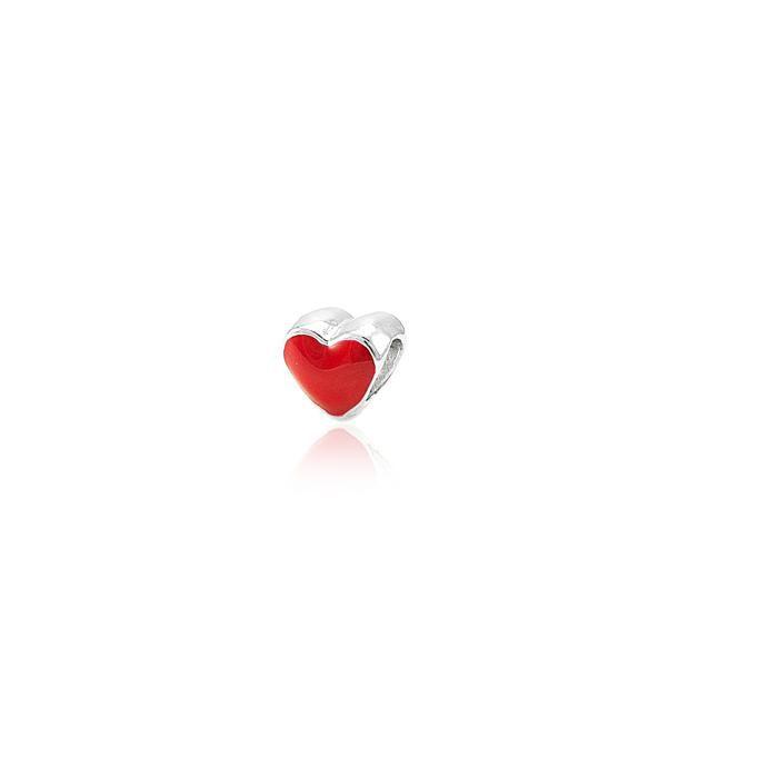 Berloque de Passar Folheado Ródio Coração com Resi