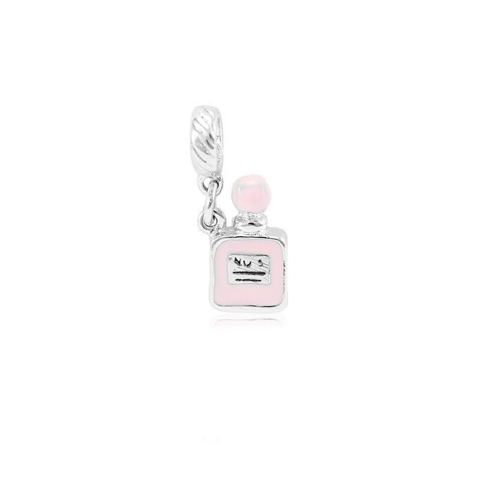 Berloque Folheado Ródio de Pendurar Perfume Resina