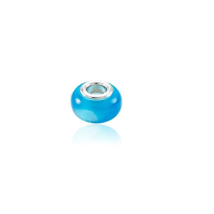 Berloque Murano Folheado Ródio Azul Lei
