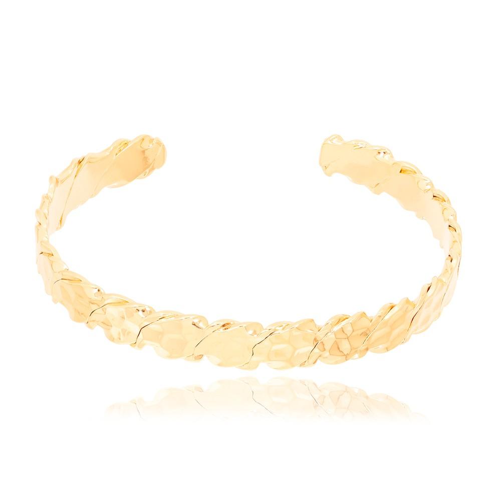 Bracelete Escamado Liso Folheado Ouro 18K
