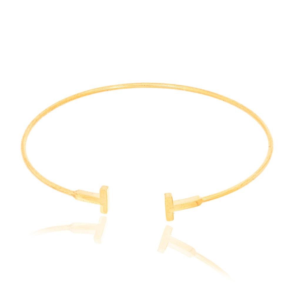 Bracelete Fino com T nas Pontas Folheado Ouro 18K