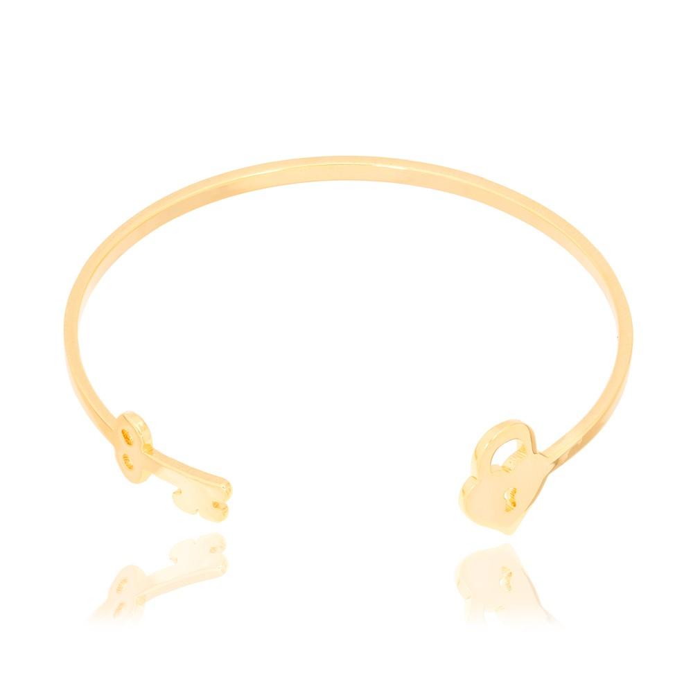 Bracelete Folheado Ouro 18K com Coração e Chave
