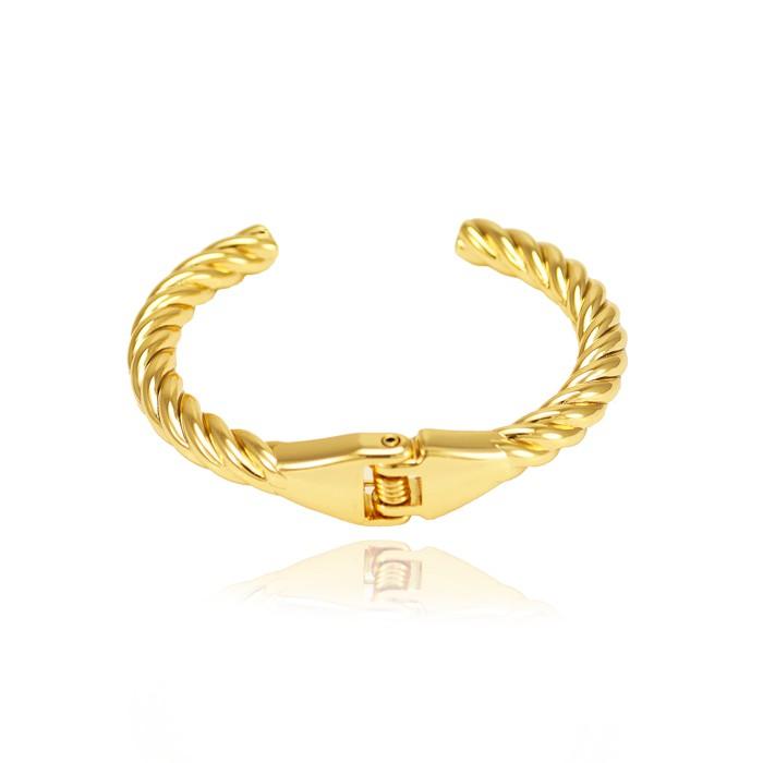 Bracelete Folheado Ouro 18K Trançado Liso