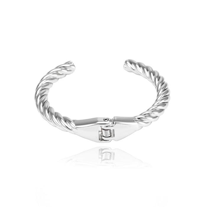 Bracelete Folheado Steel Free Com Detalhes Trançados