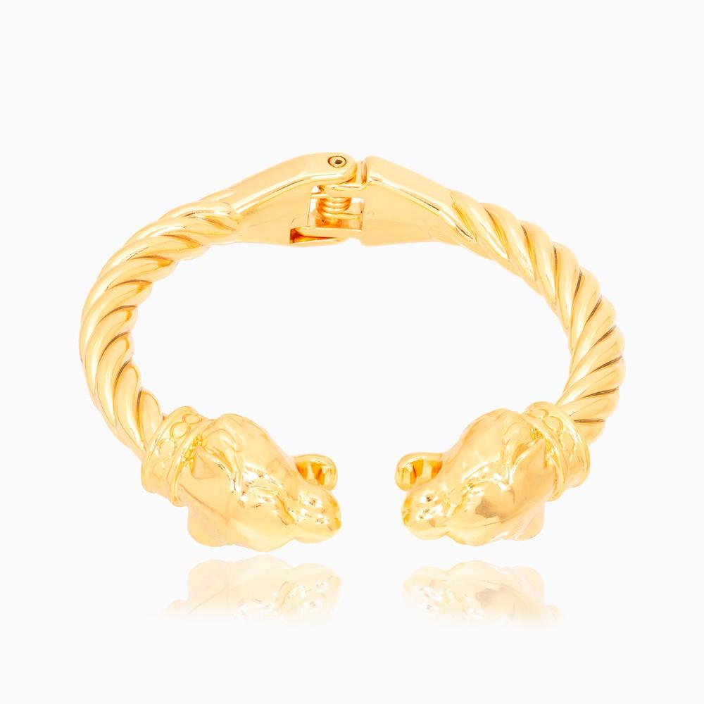 Bracelete Retorcido Folheado Ouro 18K com Tigres nas Pontas