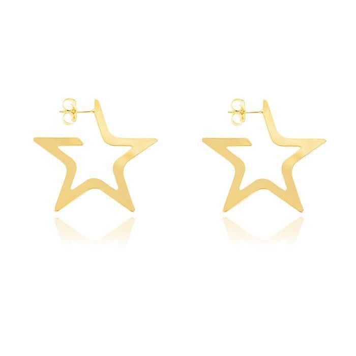 Brinco Argola Estrela Folheado Ouro 18K