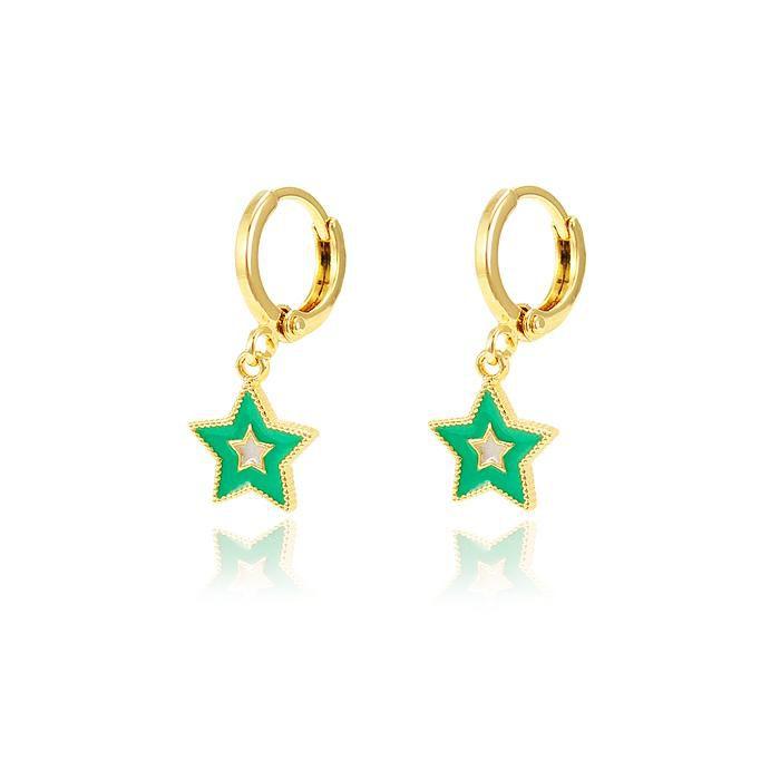 Brinco Argola Estrela Folheado Ouro 18K com Resina