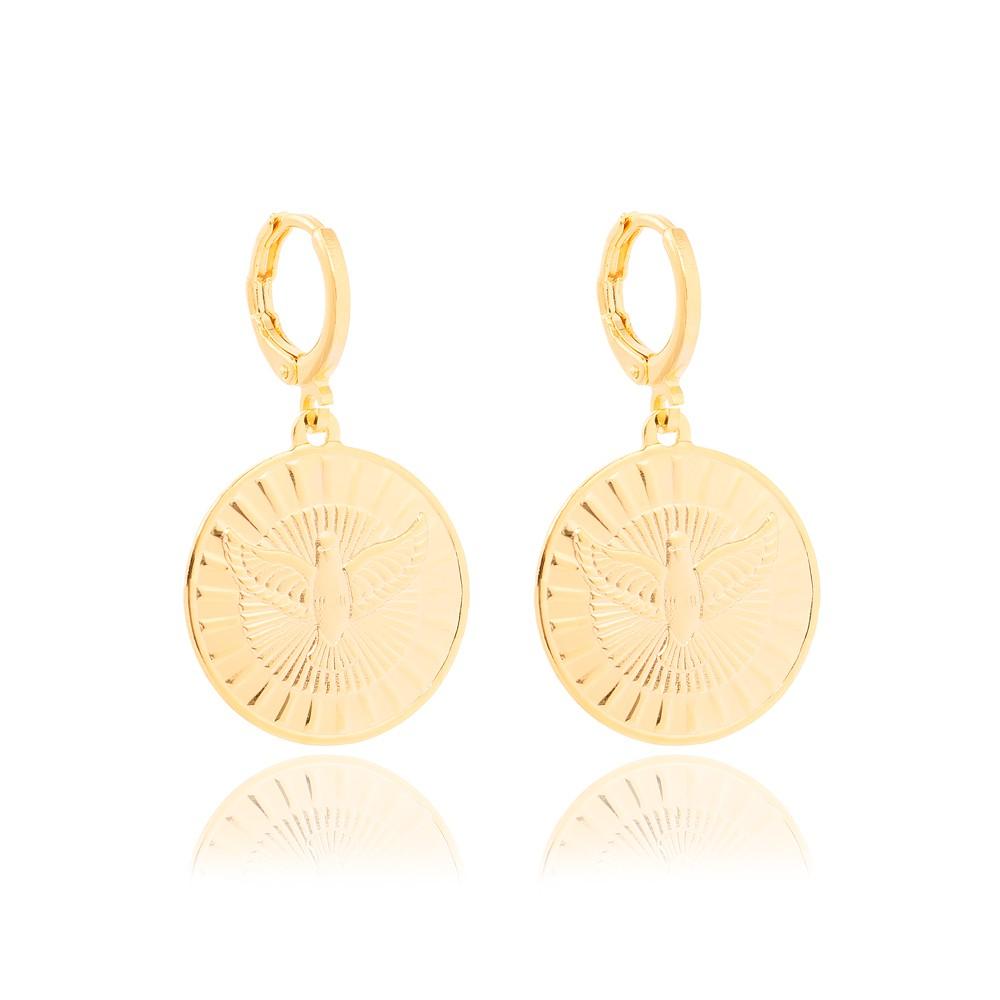 Brinco Argola Folheado Ouro 18K com Medalha de Espírito Santo