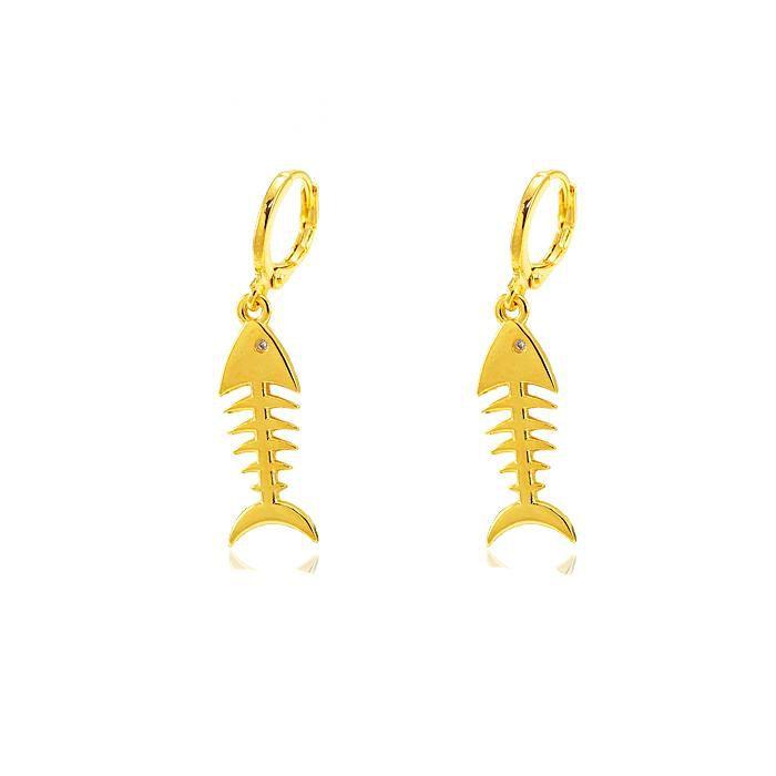 Brinco Argola Folheado Ouro 18K Esqueleto de Peixe