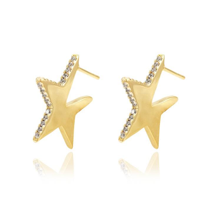 Brinco Argola Folheado Ouro 18K Estrela com Micro Zircônia Cristal