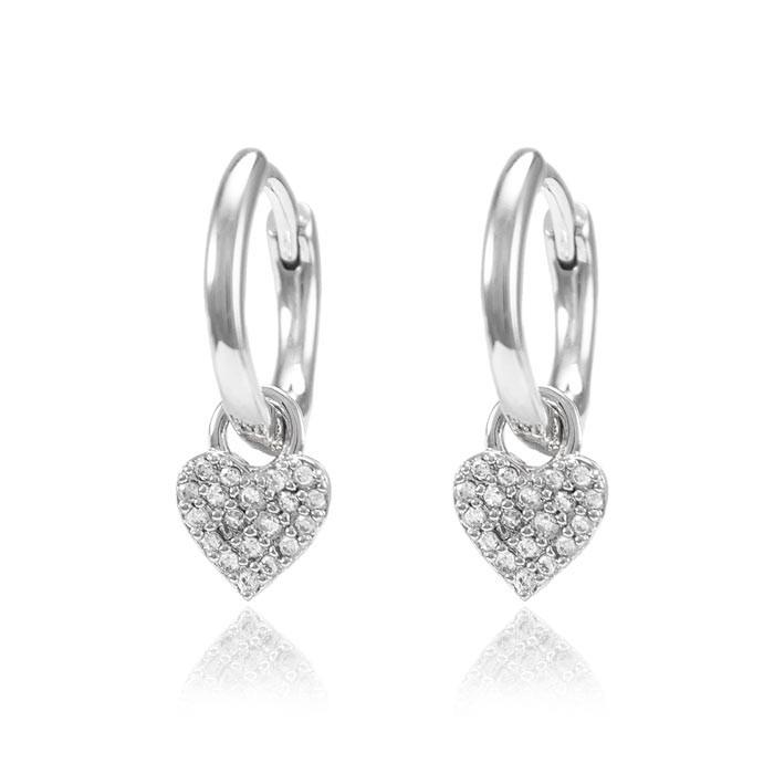 Brinco Argola Folheado Ródio com Coração Inspired Tiffany Micro Zircônia Cristal